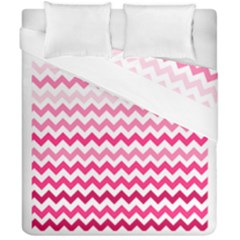 Pink Gradient Chevron Large Duvet Cover (double Size) by CraftyLittleNodes
