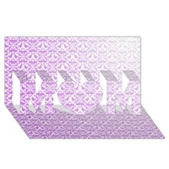 Purple Damask Gradient Mom 3d Greeting Card (8x4)  by CraftyLittleNodes