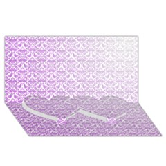Purple Damask Gradient Twin Heart Bottom 3d Greeting Card (8x4)