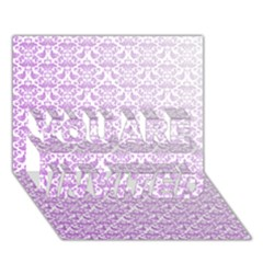 Purple Damask Gradient YOU ARE INVITED 3D Greeting Card (7x5)  by CraftyLittleNodes