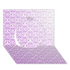 Purple Damask Gradient Circle 3d Greeting Card (7x5)