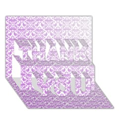 Purple Damask Gradient Thank You 3d Greeting Card (7x5)