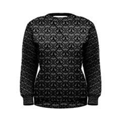 Silver Damask With Black Background Women s Sweatshirts