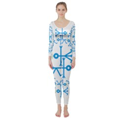 Blue Birds And Olive Branch Circle Icon Long Sleeve Catsuit