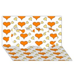 Hearts Orange Twin Hearts 3d Greeting Card (8x4)  by MoreColorsinLife