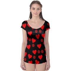 Flowers And Hearts Short Sleeve Leotard by MoreColorsinLife
