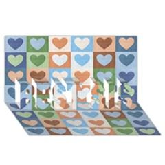 Hearts Plaid Best Sis 3d Greeting Card (8x4)