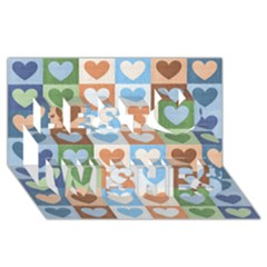 Hearts Plaid Best Wish 3d Greeting Card (8x4)