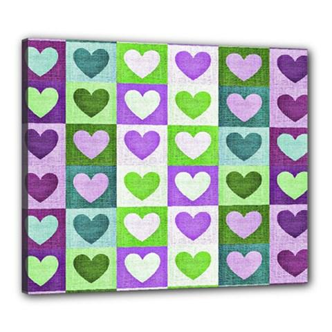 Hearts Plaid Purple Canvas 24  X 20  by MoreColorsinLife