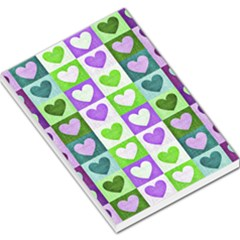 Hearts Plaid Purple Large Memo Pads