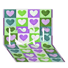 Hearts Plaid Purple I Love You 3d Greeting Card (7x5)