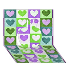 Hearts Plaid Purple Apple 3d Greeting Card (7x5)  by MoreColorsinLife