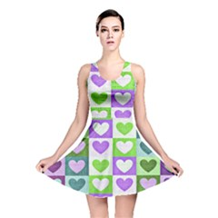 Hearts Plaid Purple Reversible Skater Dresses by MoreColorsinLife
