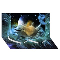 Funny Dolphin In The Universe Twin Heart Bottom 3D Greeting Card (8x4)