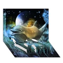 Funny Dolphin In The Universe Love Bottom 3d Greeting Card (7x5)  by FantasyWorld7