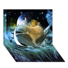 Funny Dolphin In The Universe Circle 3d Greeting Card (7x5)