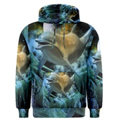 Funny Dolphin In The Universe Men s Pullover Hoodies
