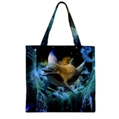 Funny Dolphin In The Universe Zipper Grocery Tote Bags