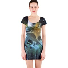 Funny Dolphin In The Universe Short Sleeve Bodycon Dresses