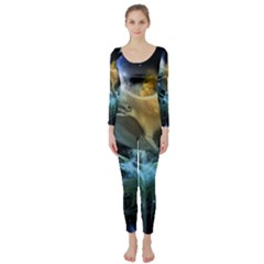 Funny Dolphin In The Universe Long Sleeve Catsuit