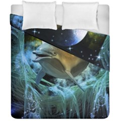 Funny Dolphin In The Universe Duvet Cover (double Size)