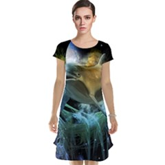 Funny Dolphin In The Universe Cap Sleeve Nightdresses