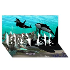 Cute Mermaid Playing With Orca Best Sis 3d Greeting Card (8x4)