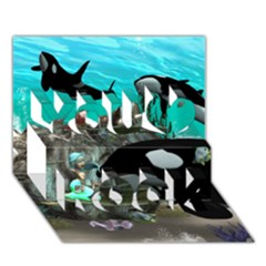 Cute Mermaid Playing With Orca You Rock 3D Greeting Card (7x5)