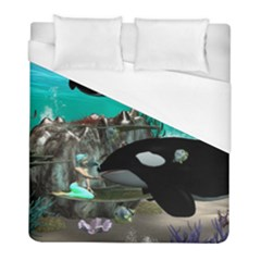Cute Mermaid Playing With Orca Duvet Cover Single Side (Twin Size)