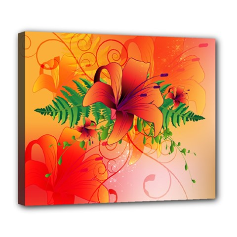 Awesome Red Flowers With Leaves Deluxe Canvas 24  X 20   by FantasyWorld7
