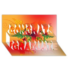 Awesome Red Flowers With Leaves Congrats Graduate 3d Greeting Card (8x4)  by FantasyWorld7