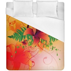 Awesome Red Flowers With Leaves Duvet Cover Single Side (double Size) by FantasyWorld7