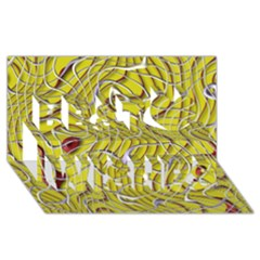 Ribbon Chaos 2 Yellow Best Wish 3d Greeting Card (8x4)