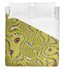 Ribbon Chaos 2 Yellow Duvet Cover Single Side (Full/Queen Size) by ImpressiveMoments