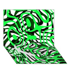 Ribbon Chaos Green Heart Bottom 3d Greeting Card (7x5)