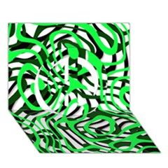 Ribbon Chaos Green Peace Sign 3D Greeting Card (7x5)  by ImpressiveMoments