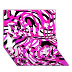 Ribbon Chaos Pink You Rock 3d Greeting Card (7x5)  by ImpressiveMoments