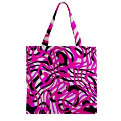 Ribbon Chaos Pink Zipper Grocery Tote Bags by ImpressiveMoments