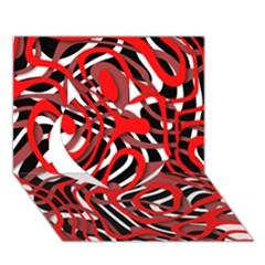 Ribbon Chaos Red Heart 3d Greeting Card (7x5)