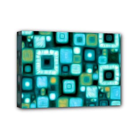 Teal Squares Mini Canvas 7  x 5  by KirstenStar