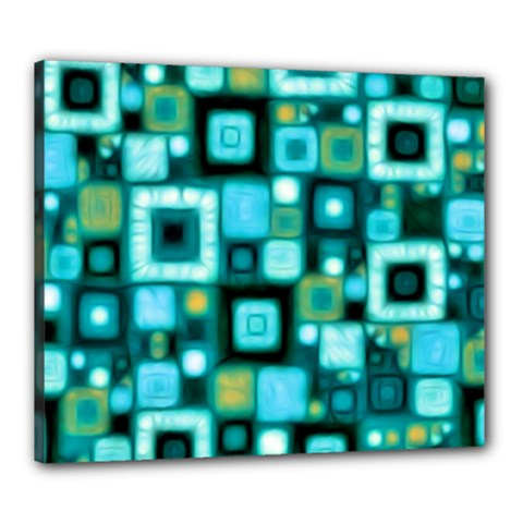 Teal Squares Canvas 24  X 20  by KirstenStar