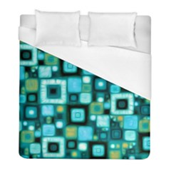 Teal Squares Duvet Cover Single Side (twin Size) by KirstenStar