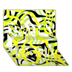 Ribbon Chaos Yellow You Rock 3d Greeting Card (7x5)