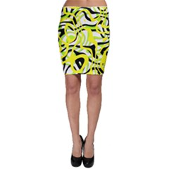 Ribbon Chaos Yellow Bodycon Skirts