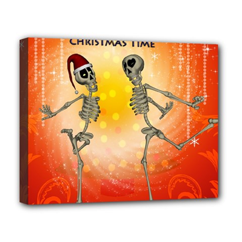 Dancing For Christmas, Funny Skeletons Deluxe Canvas 20  X 16   by FantasyWorld7