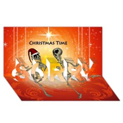 Dancing For Christmas, Funny Skeletons SORRY 3D Greeting Card (8x4)