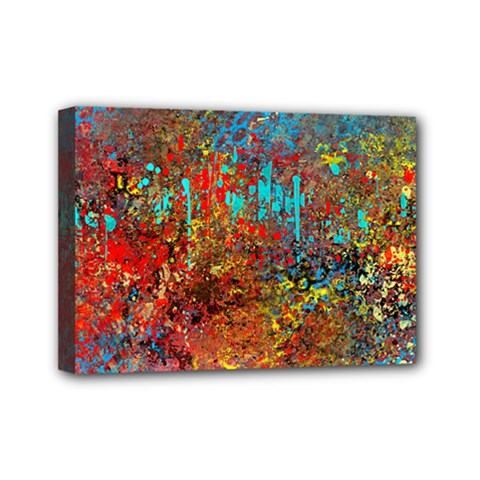 Abstract In Red, Turquoise, And Yellow Mini Canvas 7  X 5  by theunrulyartist