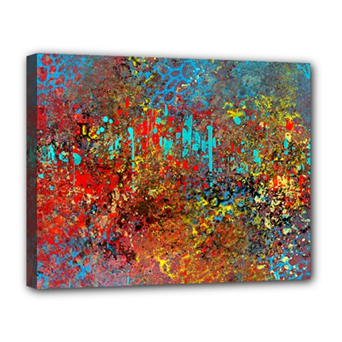Abstract In Red, Turquoise, And Yellow Canvas 14  X 11  by theunrulyartist