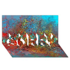 Abstract In Red, Turquoise, And Yellow Sorry 3d Greeting Card (8x4)  by digitaldivadesigns