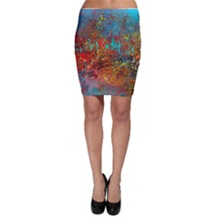 Abstract In Red, Turquoise, And Yellow Bodycon Skirts